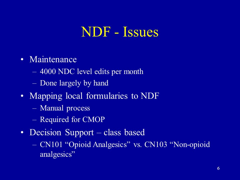 NDF - Issues Maintenance Mapping local formularies to NDF