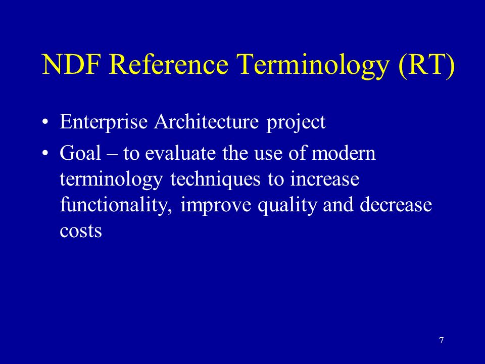 NDF Reference Terminology (RT)