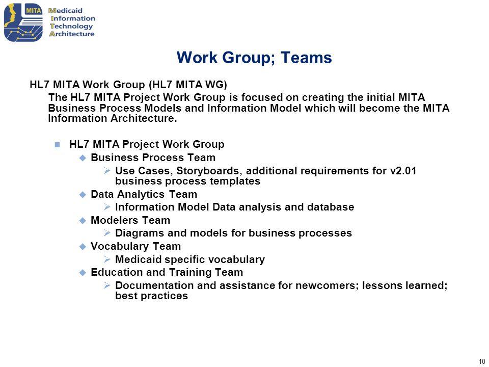 Work Group; Teams HL7 MITA Work Group (HL7 MITA WG)