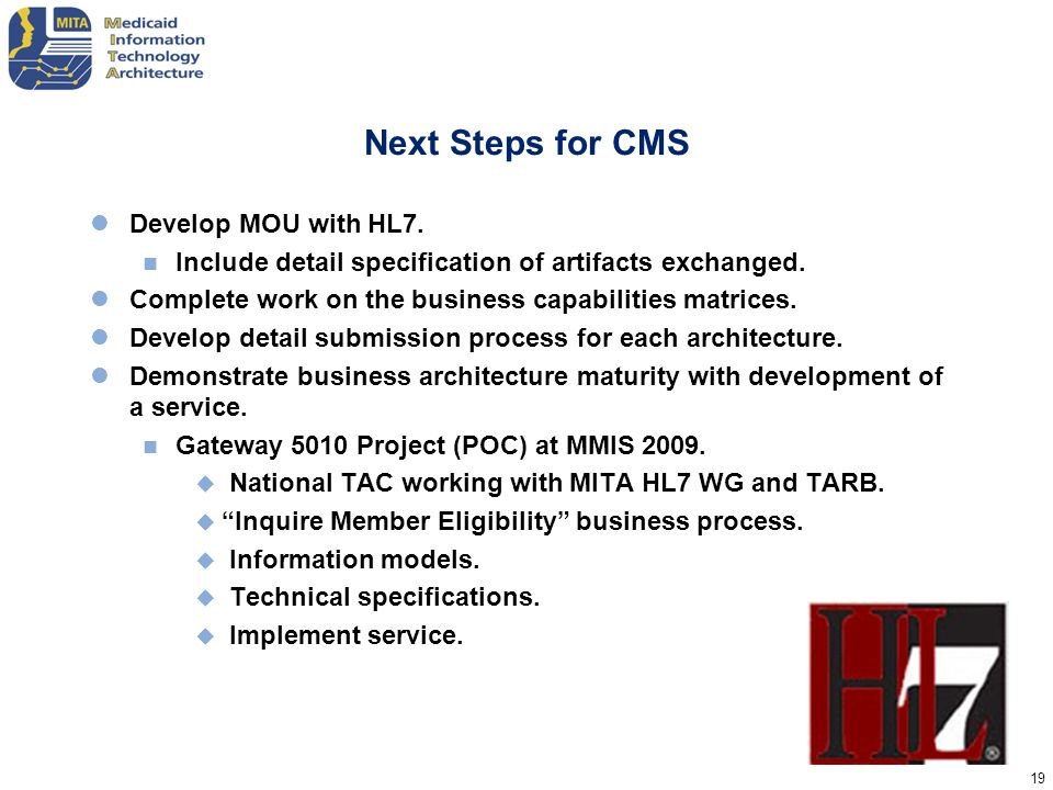 Next Steps for CMS Develop MOU with HL7.