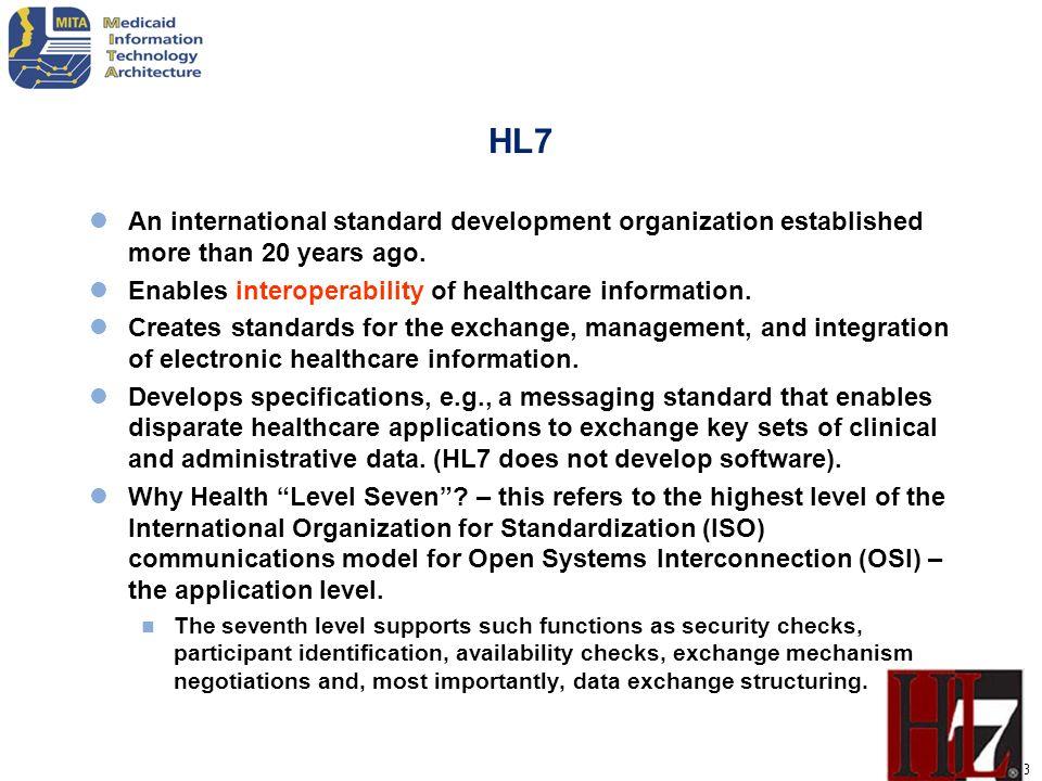 HL7 An international standard development organization established more than 20 years ago. Enables interoperability of healthcare information.