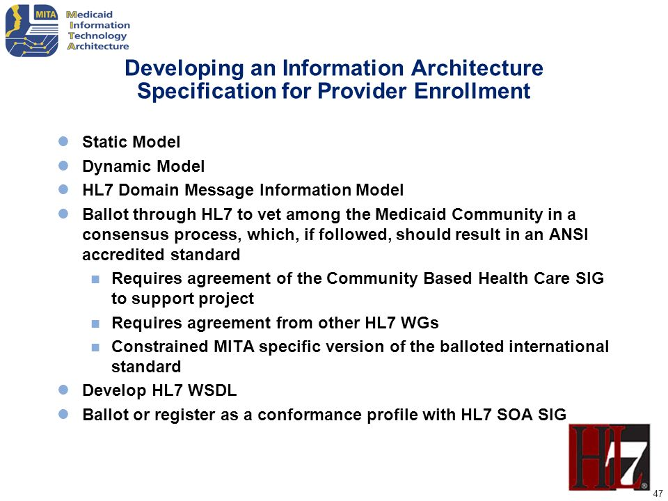 Developing an Information Architecture Specification for Provider Enrollment
