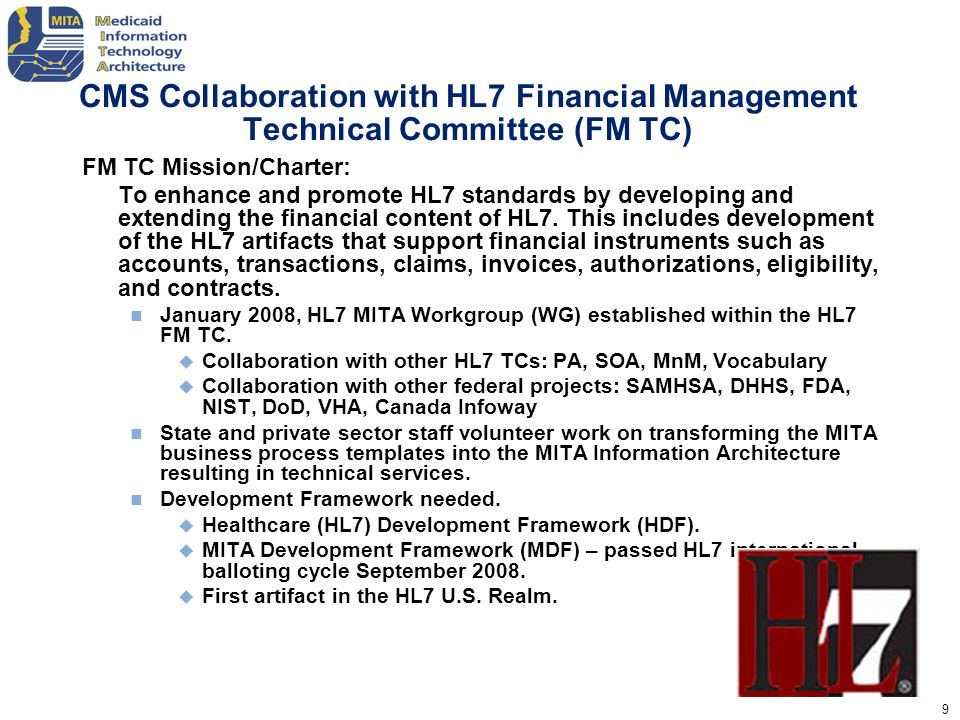 CMS Collaboration with HL7 Financial Management Technical Committee (FM TC)