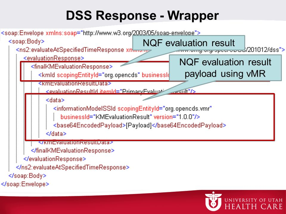 NQF evaluation result payload using vMR
