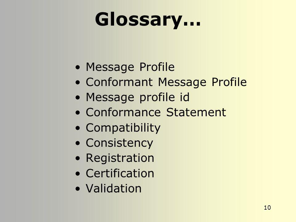 Glossary… Message Profile Conformant Message Profile