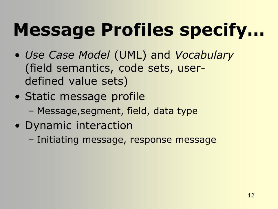 Message Profiles specify…
