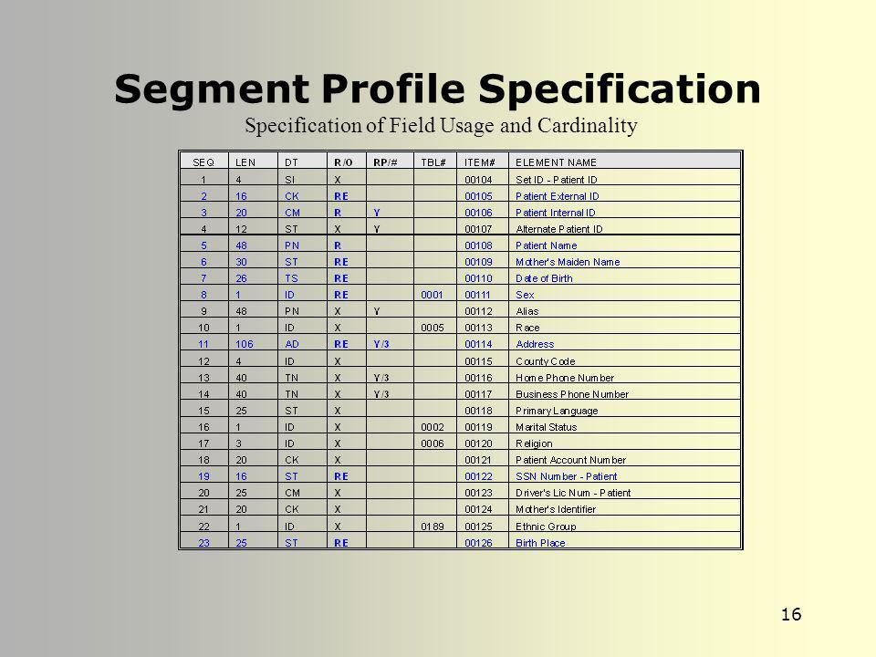 Segment Profile Specification