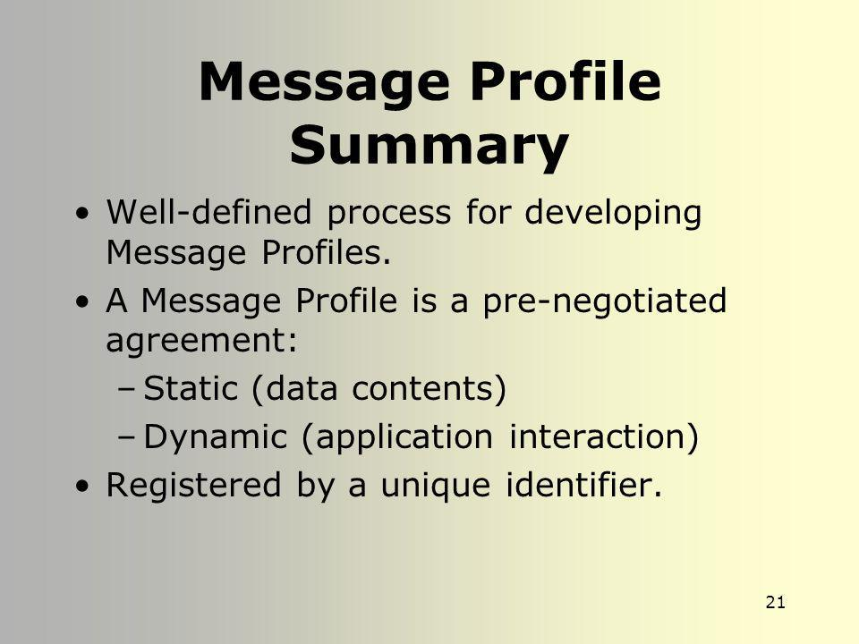 Message Profile Summary