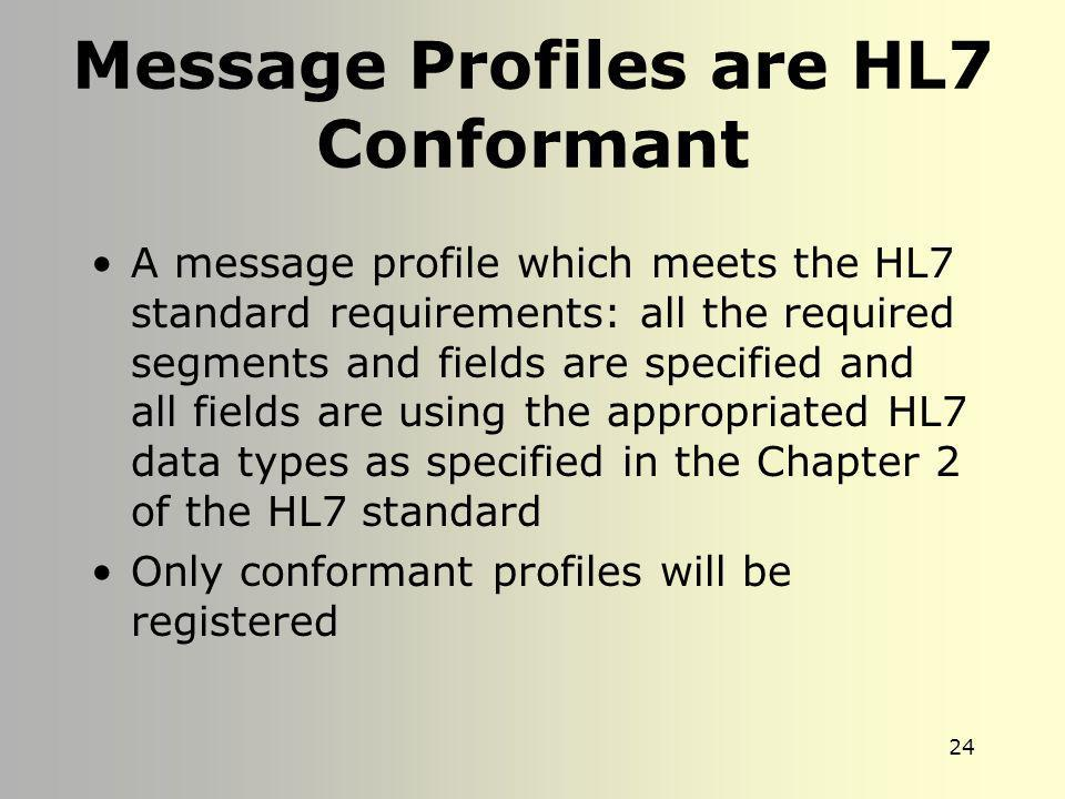 Message Profiles are HL7 Conformant