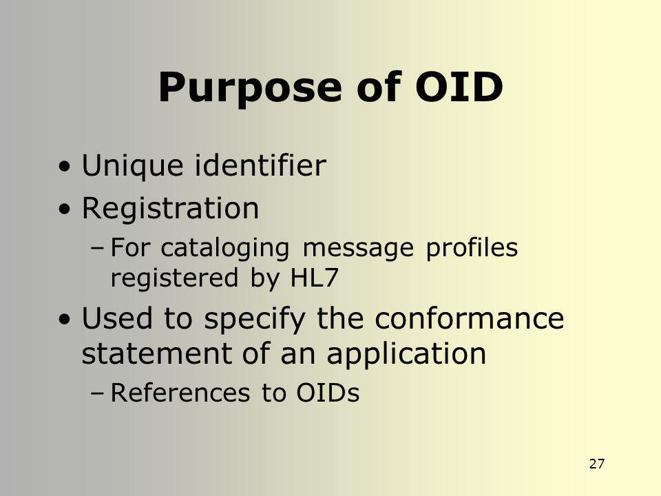 Purpose of OID Unique identifier Registration
