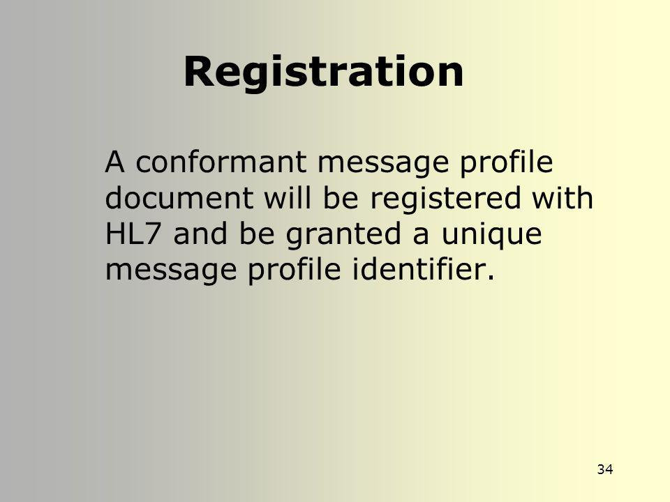 Registration A conformant message profile document will be registered with HL7 and be granted a unique message profile identifier.