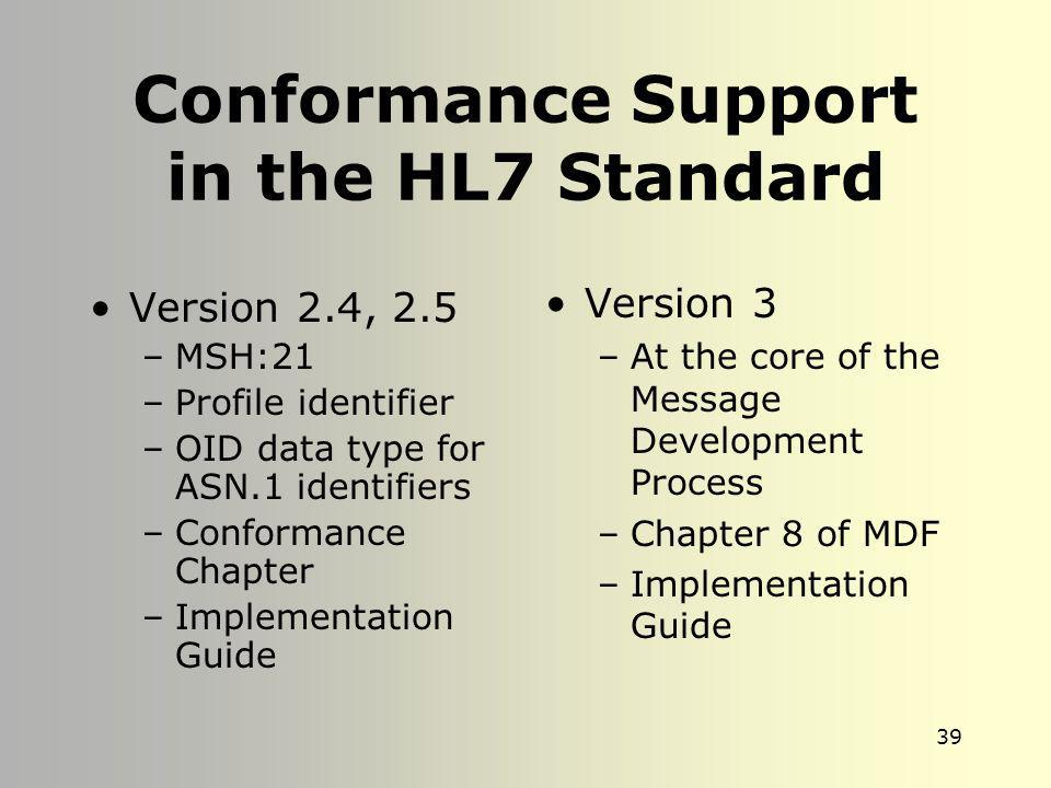 Conformance Support in the HL7 Standard