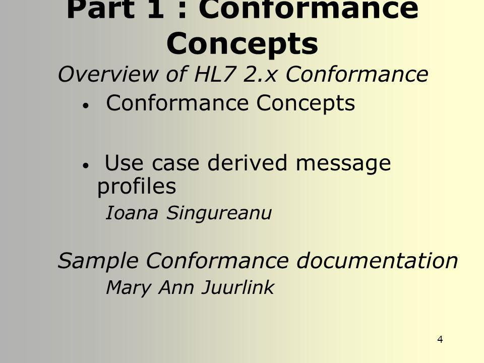 Part 1 : Conformance Concepts