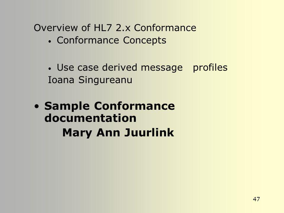 Sample Conformance documentation Mary Ann Juurlink