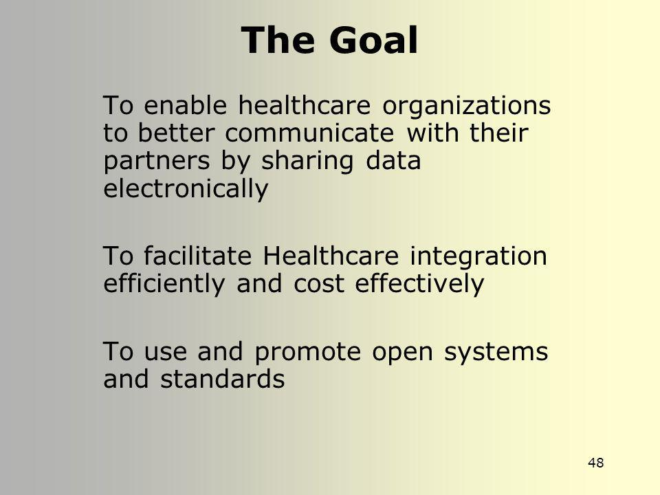 The Goal To enable healthcare organizations to better communicate with their partners by sharing data electronically.