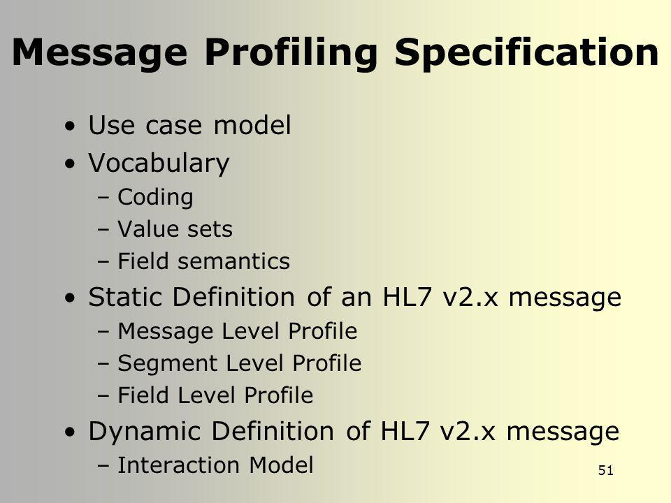 Message Profiling Specification