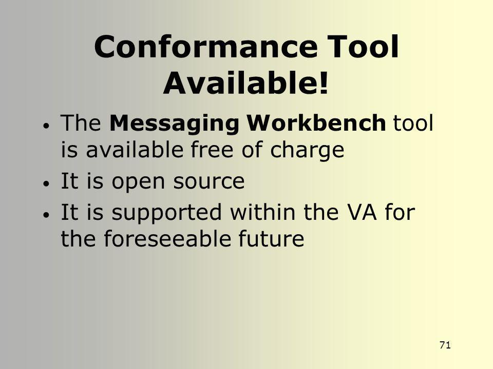 Conformance Tool Available!