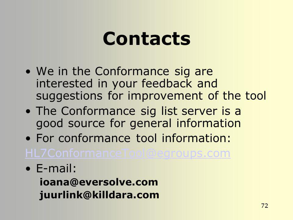 Contacts We in the Conformance sig are interested in your feedback and suggestions for improvement of the tool.