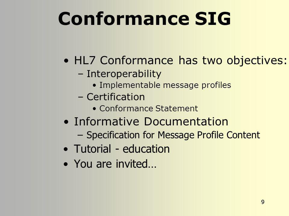 Conformance SIG HL7 Conformance has two objectives: