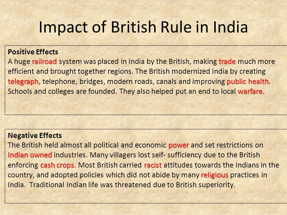 the positive impact of british rule on indian economy and political system By the end of the century british rule had been consolidated indian economy india offered foreign a system whose yield.