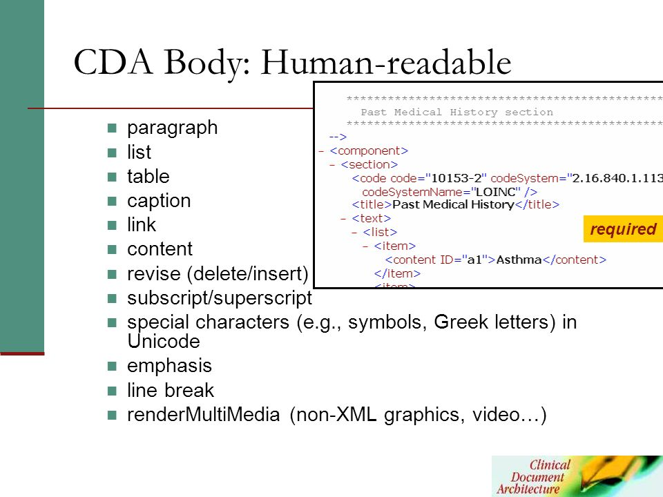 CDA Body: Human-readable