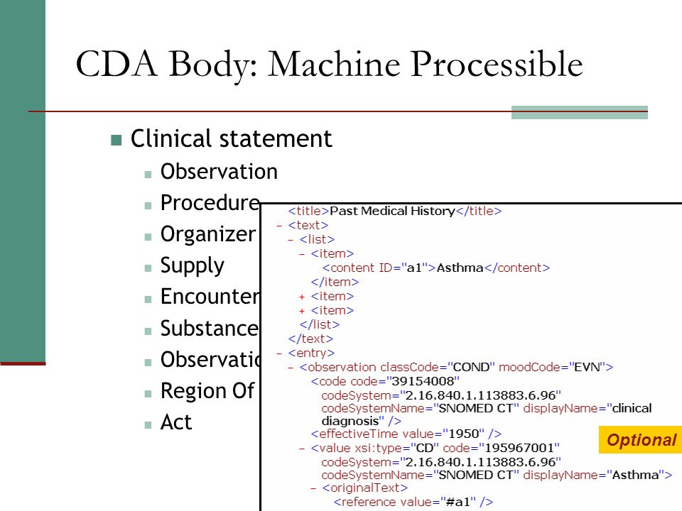 CDA Body: Machine Processible