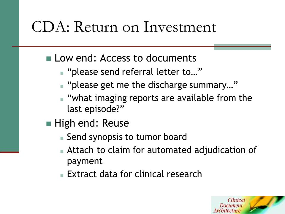 CDA: Return on Investment