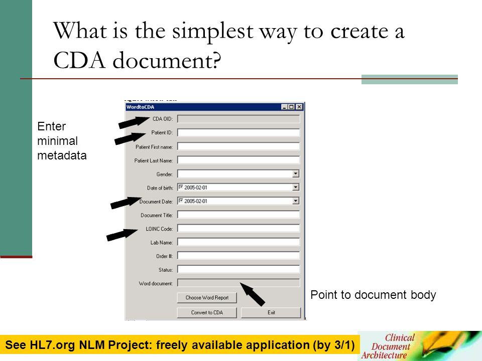 What is the simplest way to create a CDA document
