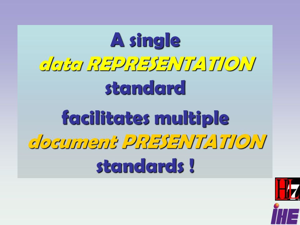 A single data REPRESENTATION standard