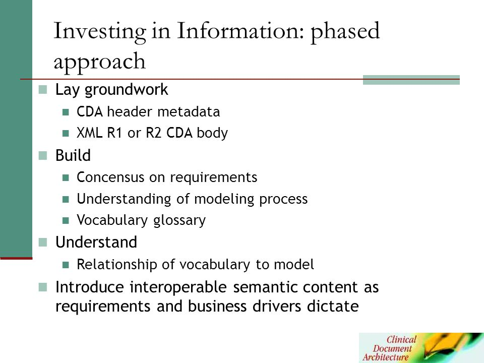Investing in Information: phased approach
