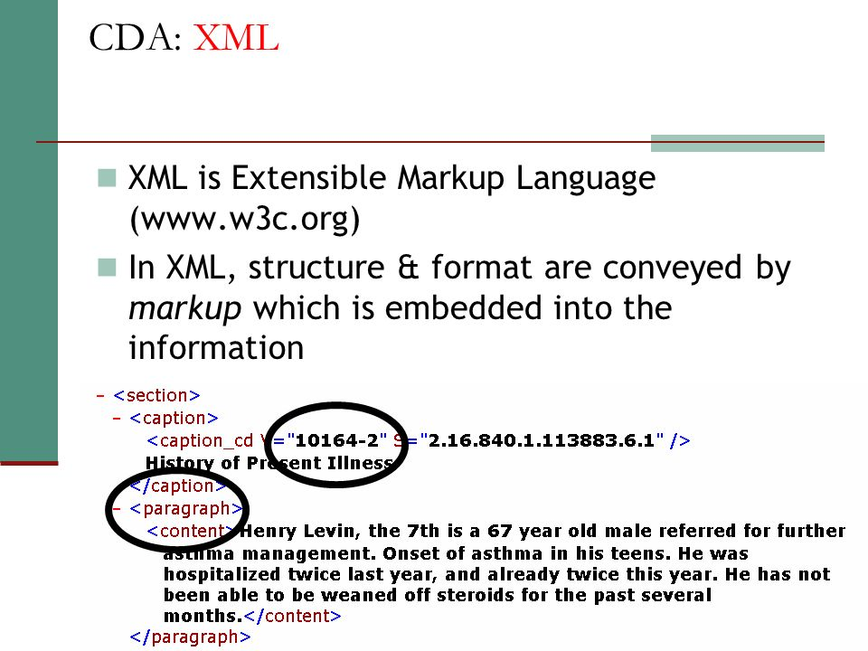 CDA: XML XML is Extensible Markup Language (www.w3c.org)