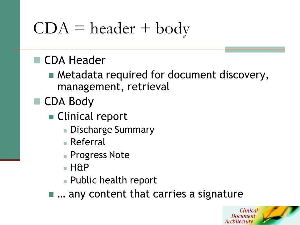 CDA = header + body CDA Header CDA Body