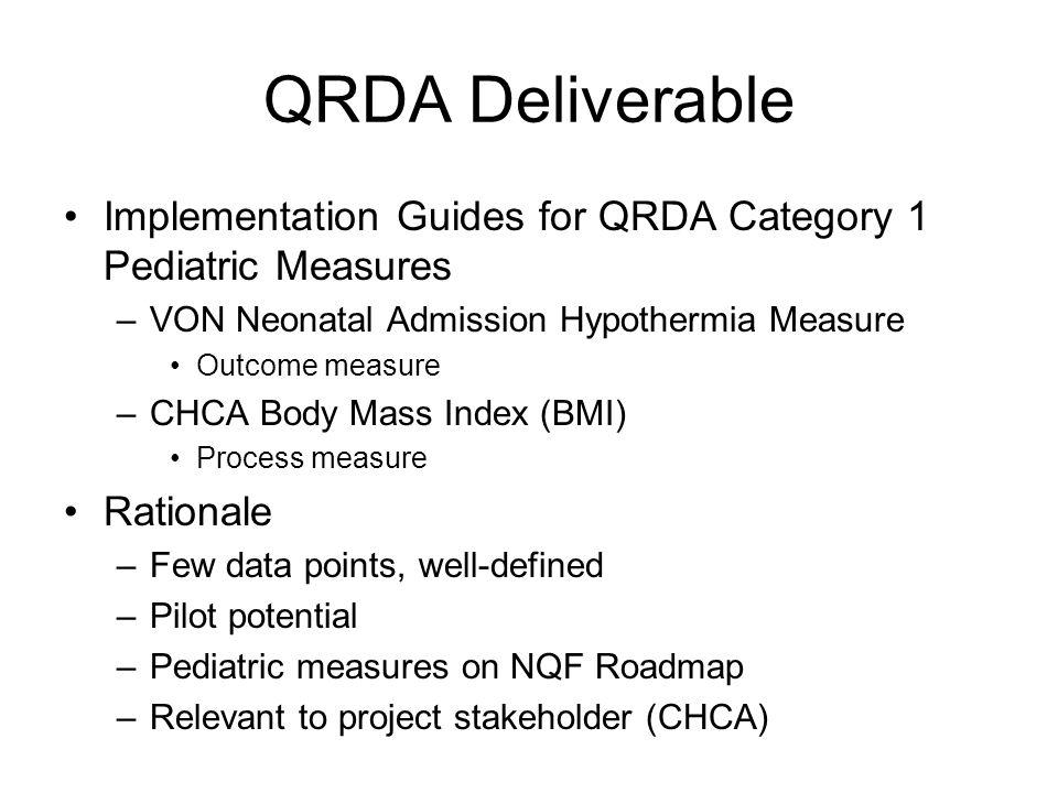 QRDA DeliverableImplementation Guides for QRDA Category 1 Pediatric Measures. VON Neonatal Admission Hypothermia Measure.