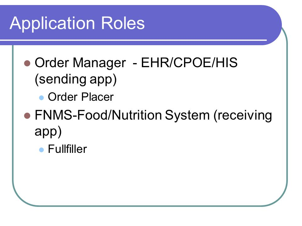 Application Roles Order Manager - EHR/CPOE/HIS (sending app)