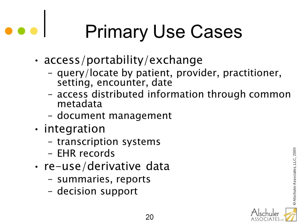Primary Use Cases access/portability/exchange integration