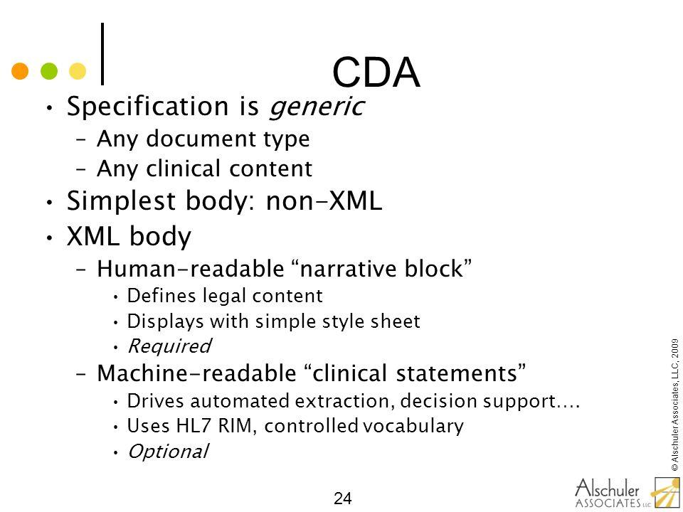 CDA Specification is generic Simplest body: non-XML XML body