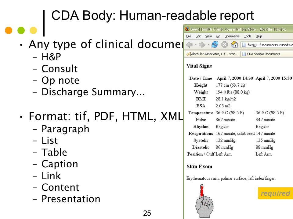 CDA Body: Human-readable report
