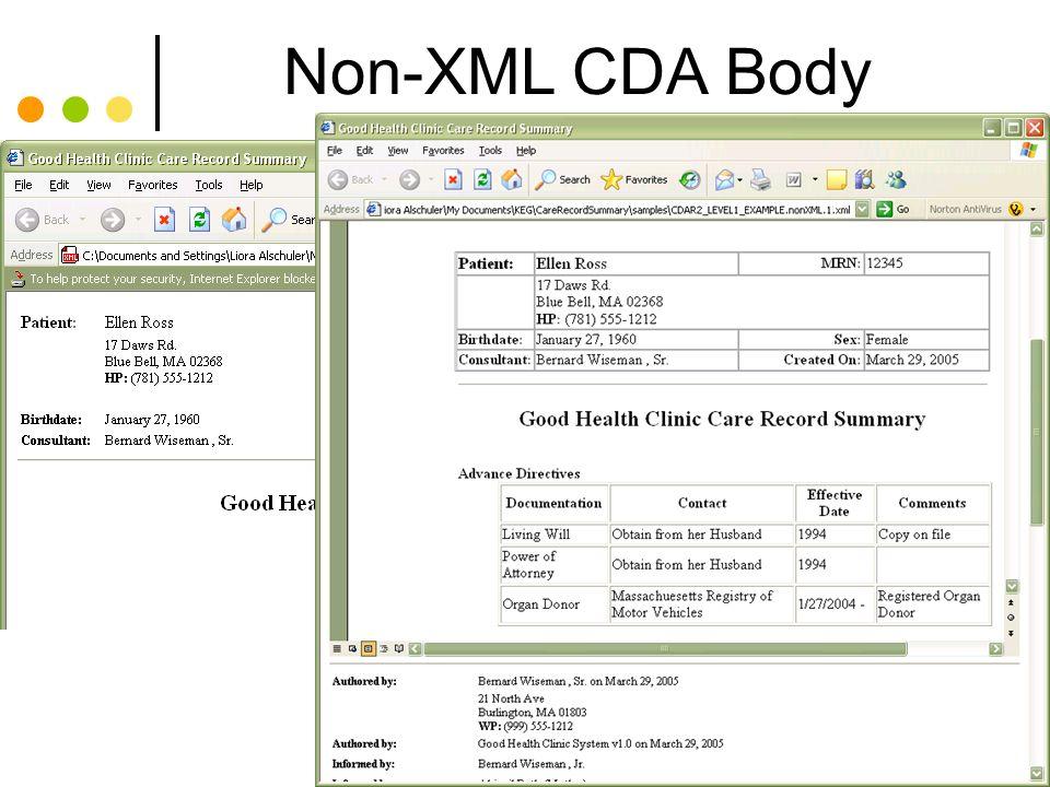 Non-XML CDA Body Animation