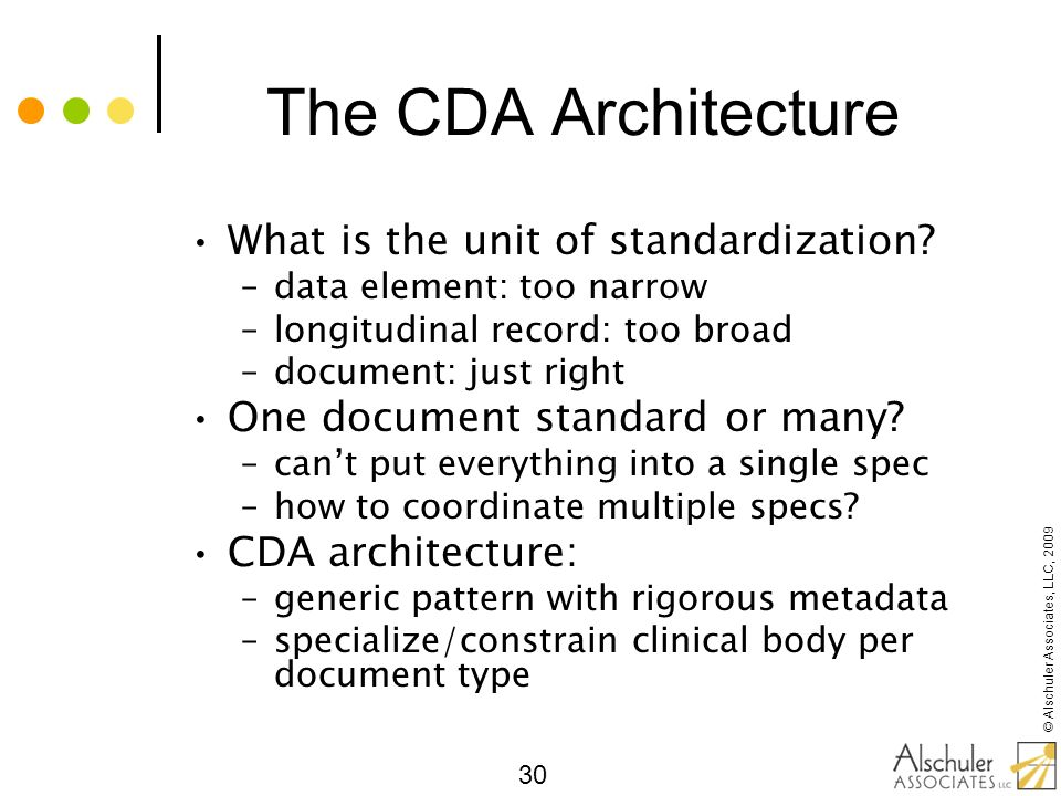 The CDA Architecture What is the unit of standardization