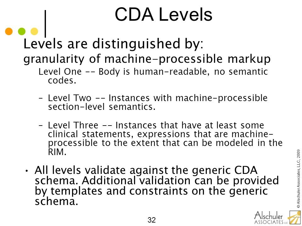 CDA Levels Levels are distinguished by: