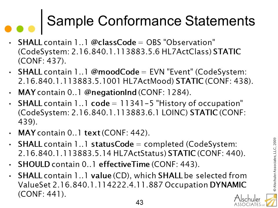 Sample Conformance Statements