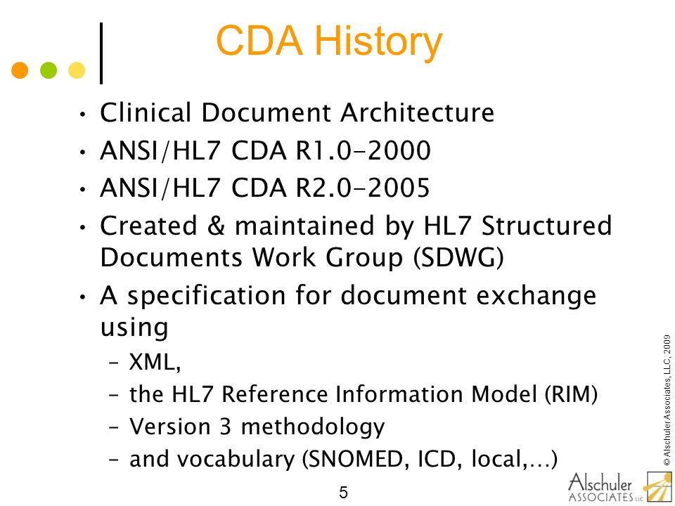CDA History Clinical Document Architecture ANSI/HL7 CDA R