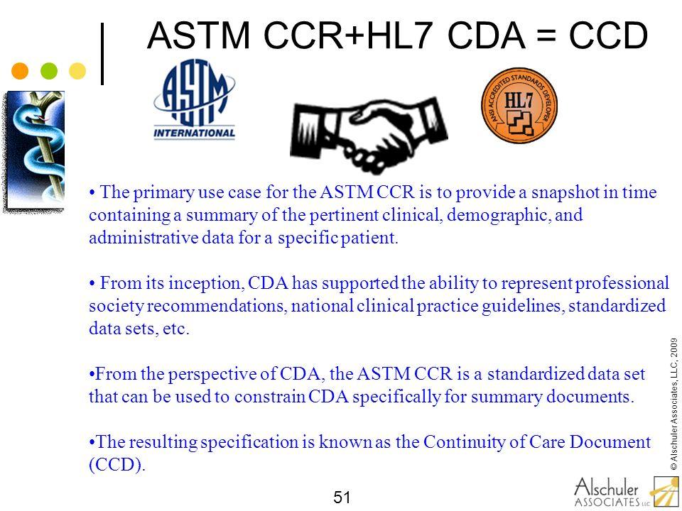 ASTM CCR+HL7 CDA = CCD