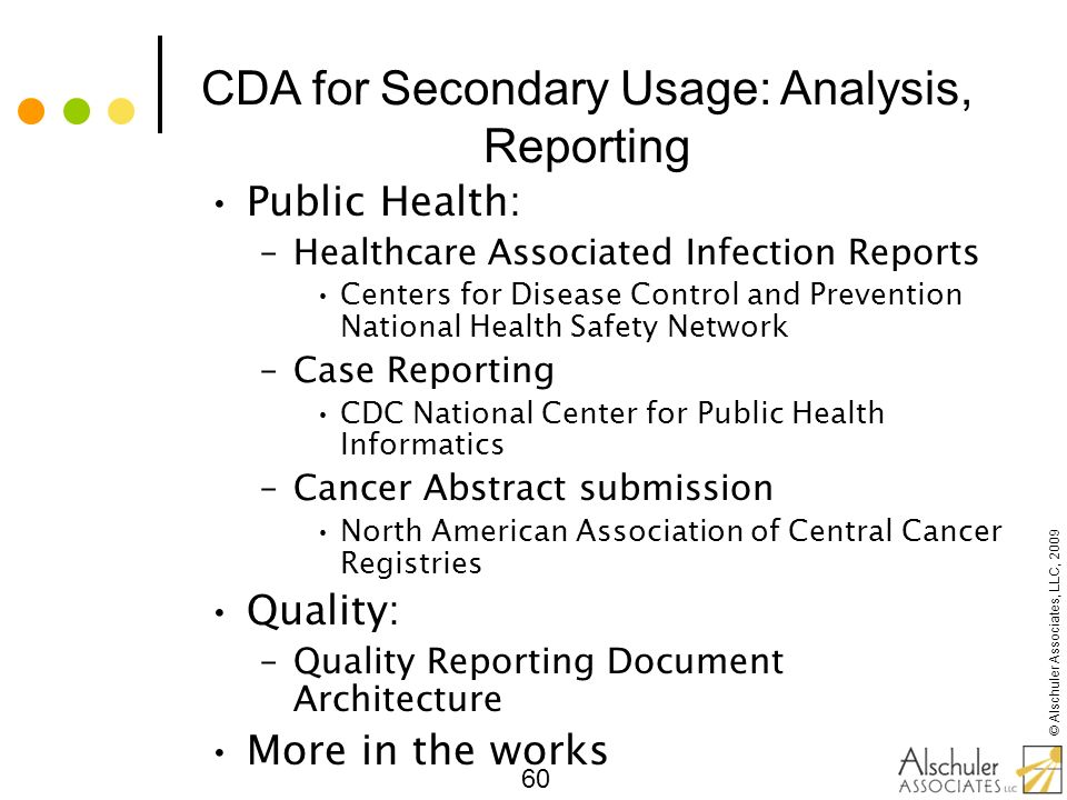 CDA for Secondary Usage: Analysis, Reporting