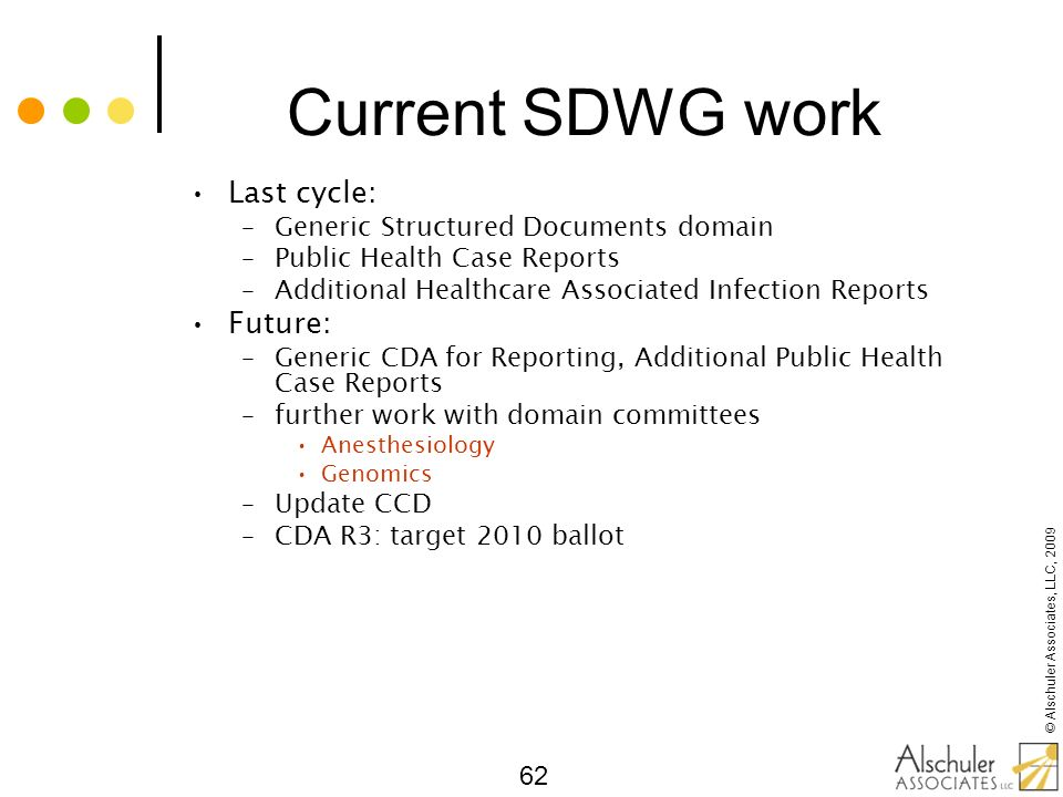 Current SDWG work Last cycle: Future: