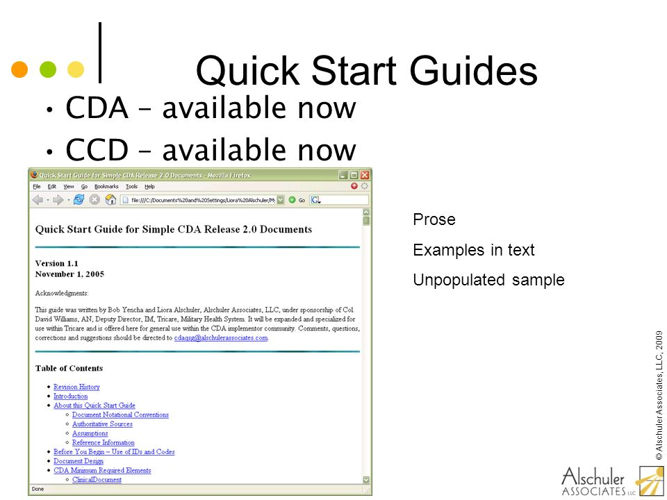 Quick Start Guides CDA – available now CCD – available now Prose