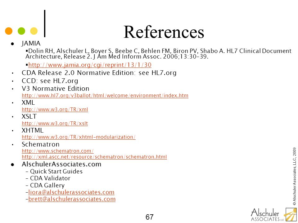 References JAMIA CDA Release 2.0 Normative Edition: see HL7.org