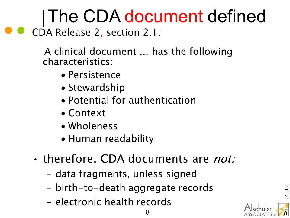 The CDA document defined