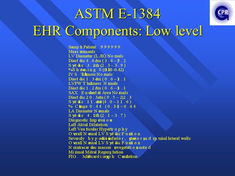 ASTM E-1384 EHR Components: Low level