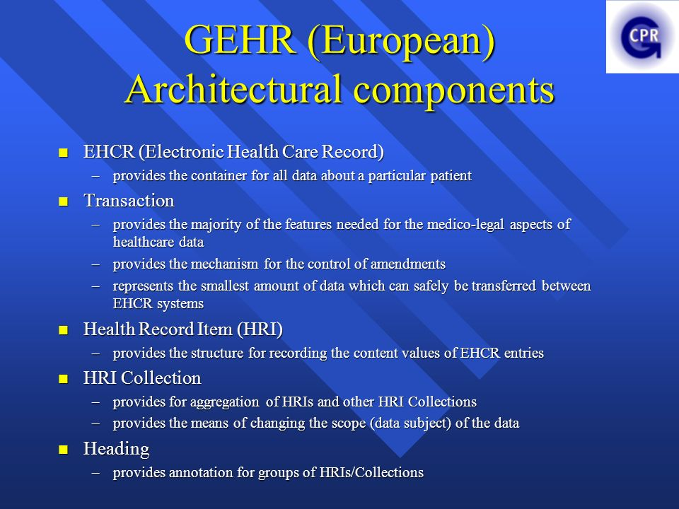 GEHR (European) Architectural components